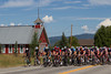 The peloton is now keeping a steady pace, not allowing the break to get too far up the road.