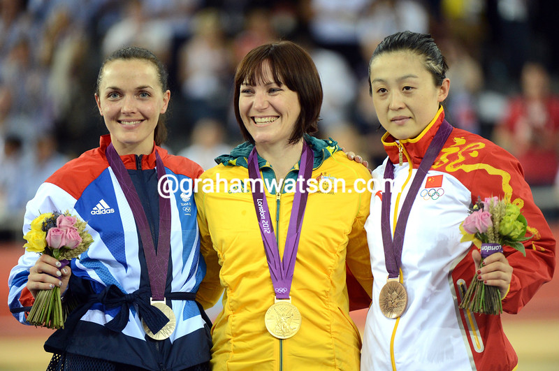 Anna Meares celebrates her Gold medal with Victoria Pendleton and Guo Shuang in the womens sprint
