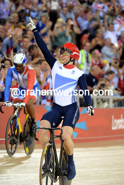 Jason Kenny celebrates his Gold medal win in the mens sprint