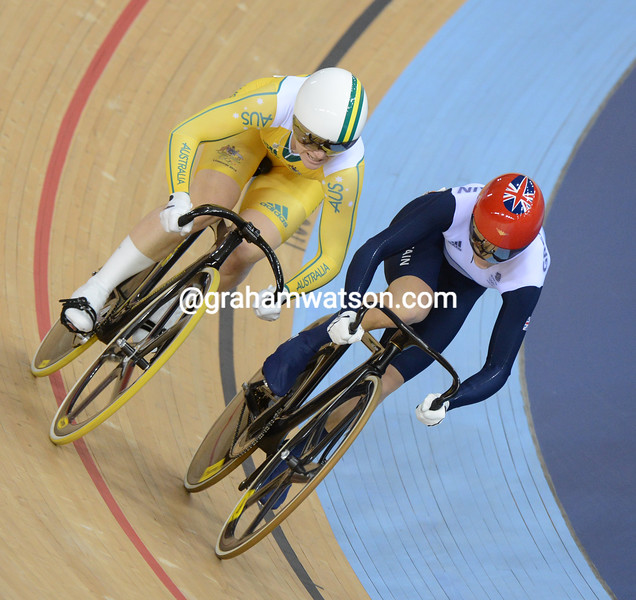 Anna Meares lost the first round final against Victoria Pendleton who was then relegated by officials