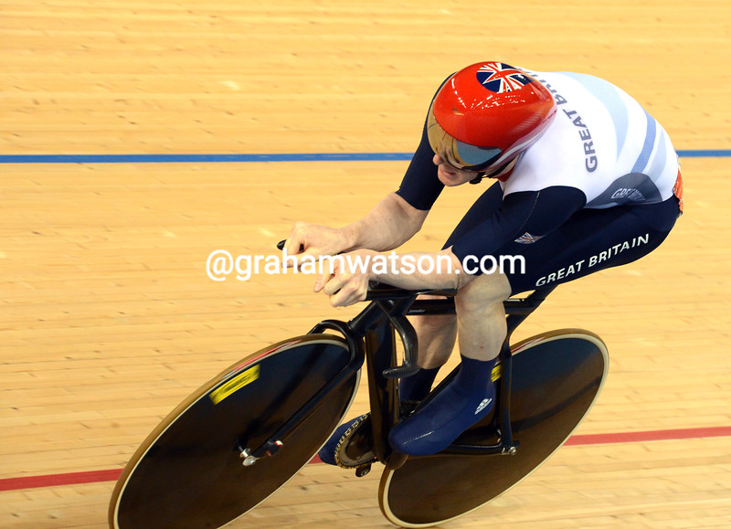 Bronze medalist Ed Clancy in the mens 1-kilometre omnium event