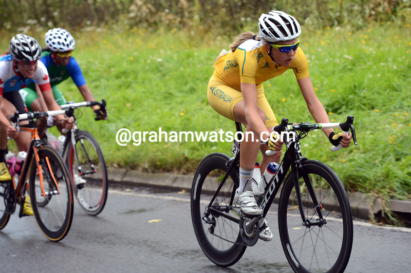 Shara Gillow of Australia tries to get away as the race approaches the Surrey hills