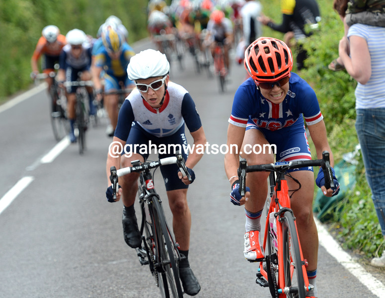 The USA's Evelyn Stevens starts a counter-attack but is marked by Emma Pooley