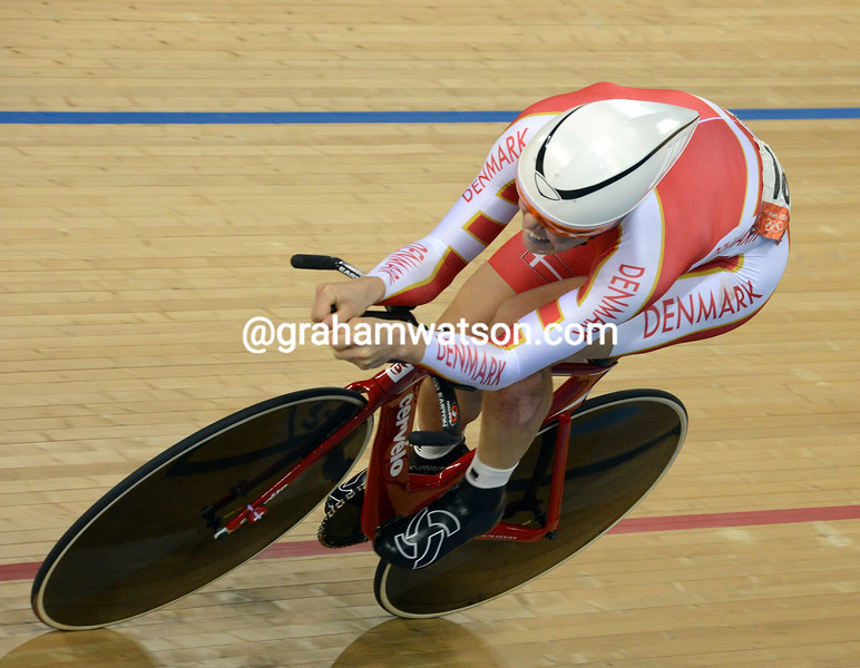 Omnium Gold medalist Lasse Norman Hansen performs in the 1-kilometre event