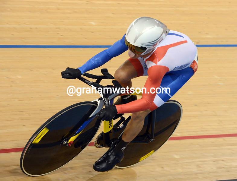 Silver medalist Bryan Coquard in the 1-Kilo omnium event