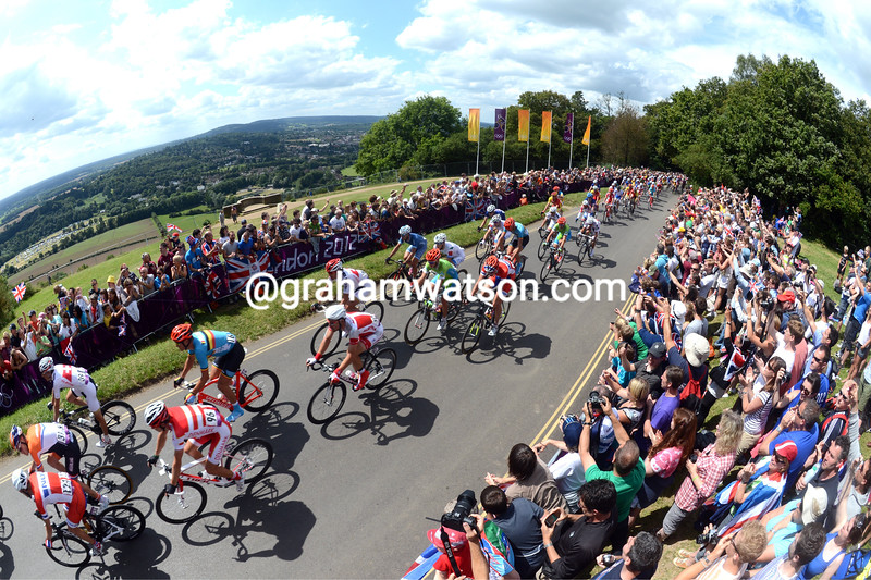 The peloton follows Team GB over Box Hill