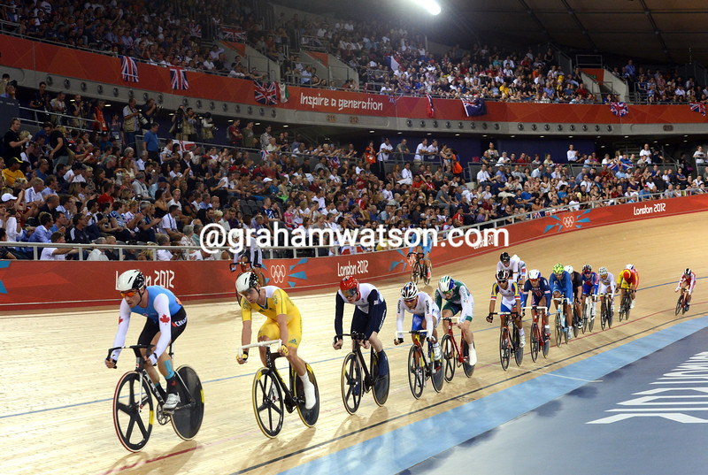 The mens Omnium included a 15-kilometres scratch race