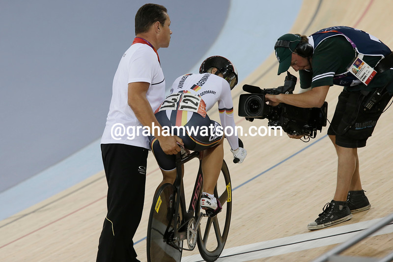 Kristina Vogel survived the close attention of a TV camera to take 4th place in the womens sprint