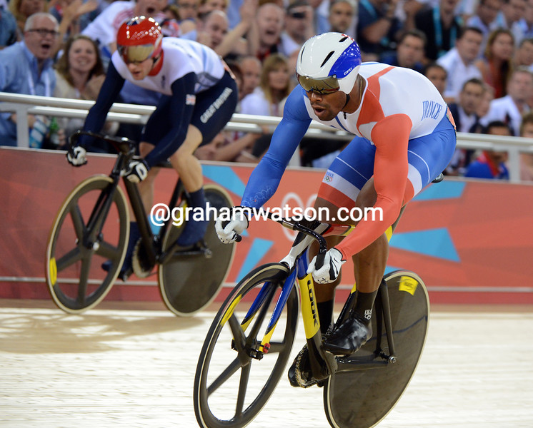Gregory Bauge led off in the second round against Jason Kenny - but the British rider came from behind to win Gold