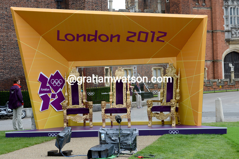 The time trial medalists await to be crowned in Hampton Court