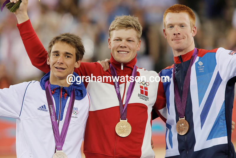 Omnium Gold medalist Lasse Norman Hansen shares the podium with runner-up Bryan Coquard and 3rd-placed Ed Clancy