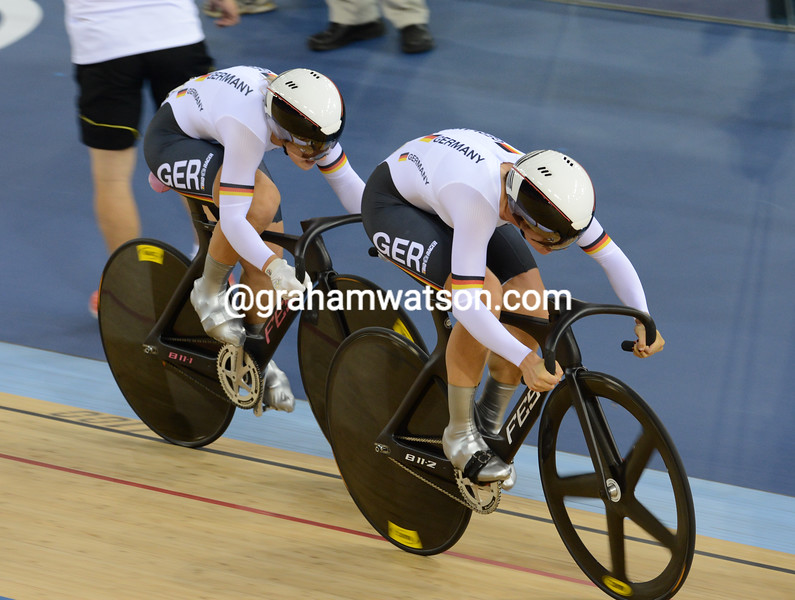 Miriam Velte and Kristina Vogel won the Gold medal for Germany in the womens Team Sprint