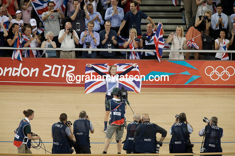 Laura Trott poses for the photographers after winning the Gold medal in the womens Omnium