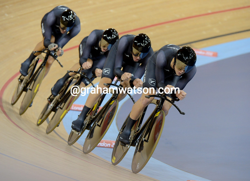 New Zealand won the bronze medal in the team pursuit with a time of 3' 55.92