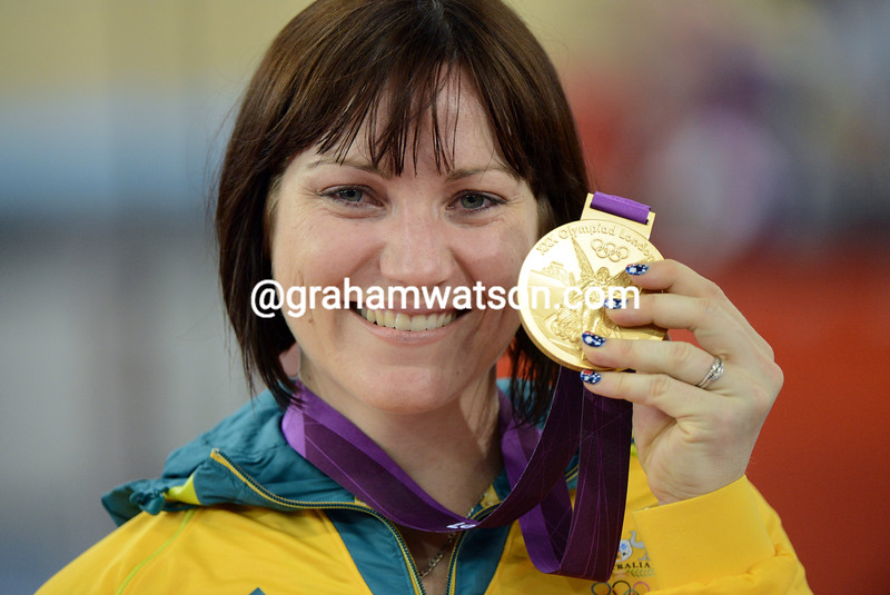 Anna Meares celebrates her Gold medal victory in the womens sprint in London