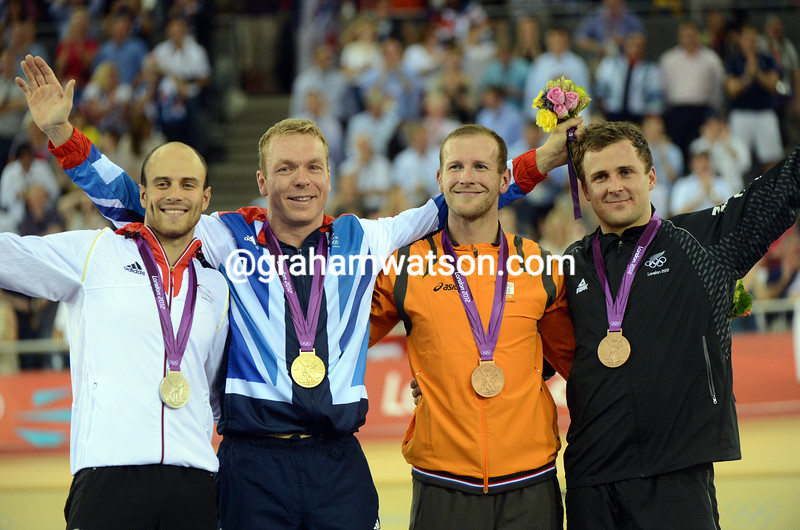 Chris Hoy shares a four-man Keirin podium with Max Levy in silver,  but both Teun Mulder and Simon Van Velthooven as joint bronze medalists