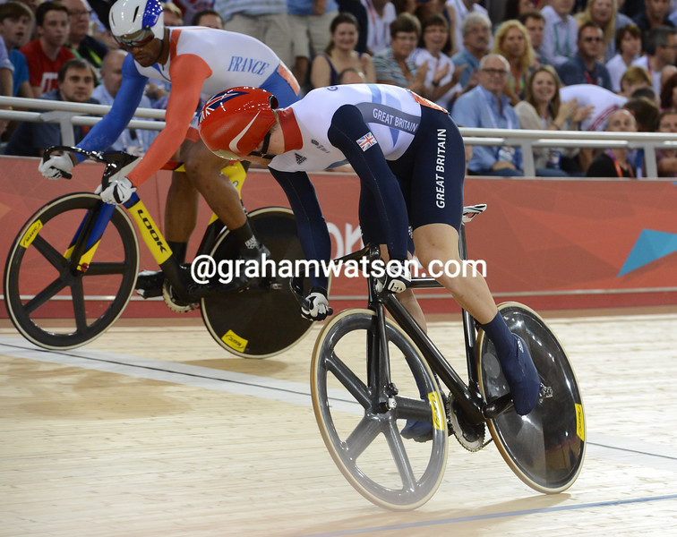 Jason Kenny faced off against France's  Gregory Baugé in the sprint final