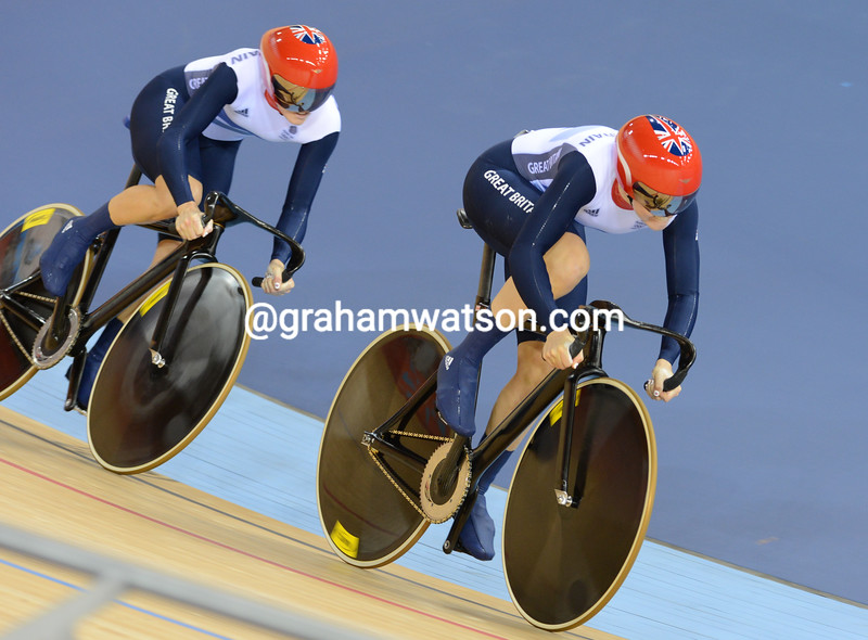 Jessica Varnish and Victoria Pendleton started well for Team GB, but were then relegated to last place in the first round of the womens Team Sprint