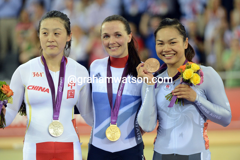Victoria Pendleton shares the womens Kierin podium with Guo Shuang and Lee Wai Sze