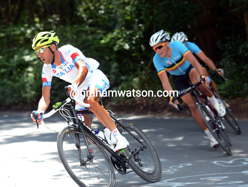 Vincenzi Nibali makes a counter- attack on Box Hill, taking Greg Van Avermaet and Philippe Gilbert towards the O'Grady escape