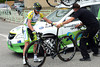 Gerrans is okay and gets a quick bike-change...