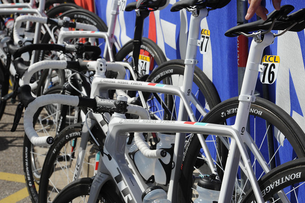 Radio Shack has some shiny, new, Trek bikes on view at the start...