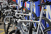 Radio Shack has some shiny, new, Trek bikes on view at the start...