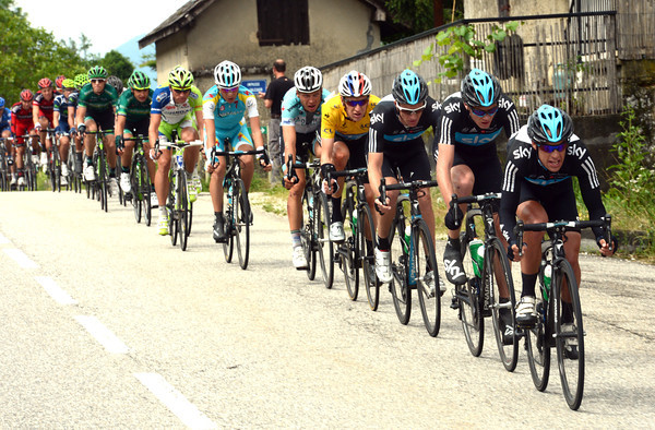 Richie Porte chases the escape the counter-attack down - it looks as if Sky might let the stage go to the escape group...