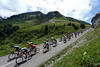 The peloton descends the Col de la Colombiére with Wiggins close to the front...