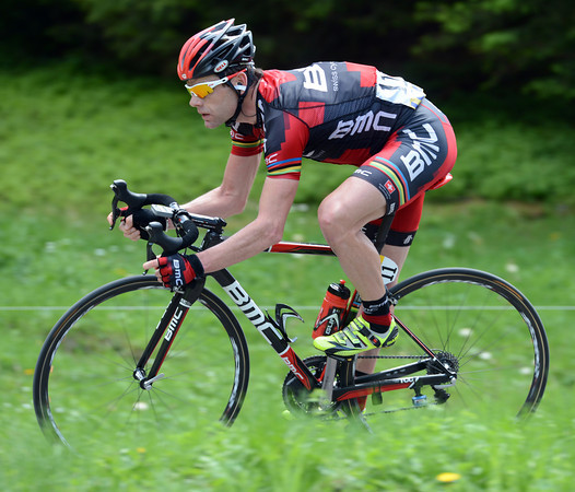 Cadel Evans has attacked over the summit and starts the initial descent with the hope of winning the stage...