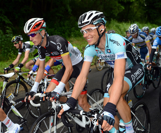 Tony Martin and Andy Schleck have plenty of time to laugh and joke today..!