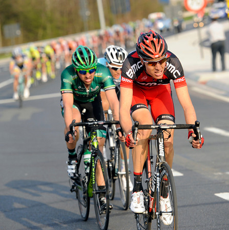 Michael Schar launches a chase on the outskirts of Harelbeke...
