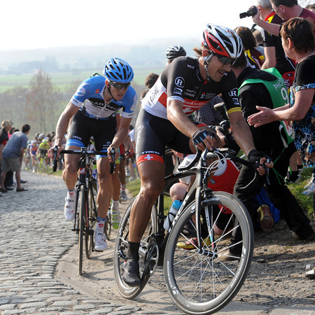 Cancellara and Van Marcke follow Boonen over the Paterberg in pursuit...