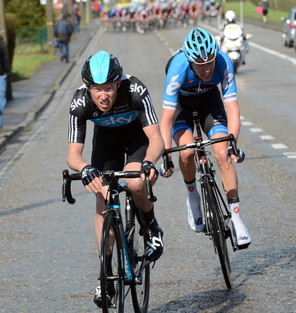 Lars Petter Nordhaug has escaped with Ryder Hesjedal on the penultimate climb...