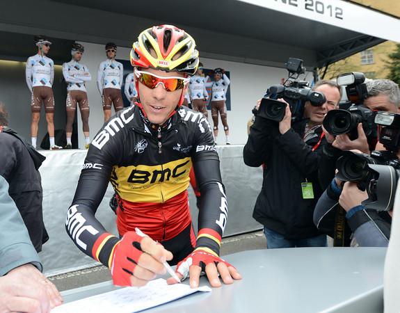 That's almost a smile from Philippe Gilbert as he signs-on as defending champion of the Fleche Wallonne...