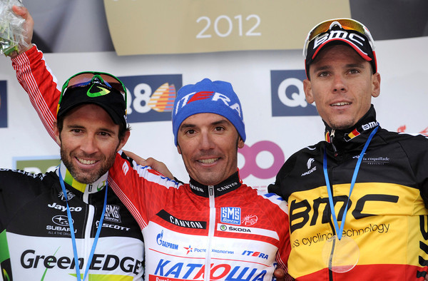 Joachin Rodriguez celebrates his greatest win with Michele Albasini and Philippe Gilbert..!