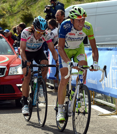 Basso has lost time too, but he has Uran struggling in his wake...