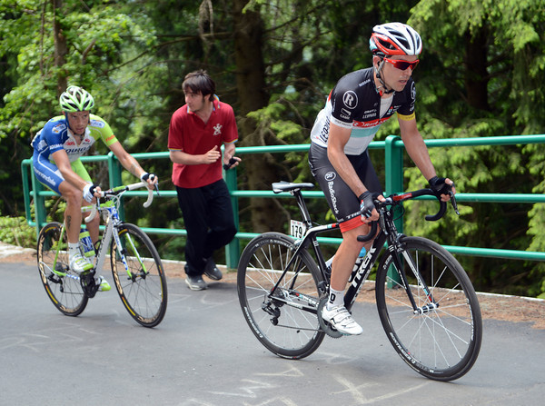 Zaugg launches himself up the vicious Mortirolo climb ahead of Caruso - the rest of the escape is in tatters...