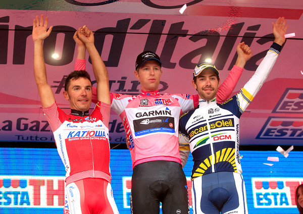 Ryder Hesjedal celebrates his Giro win with runner-up Rodriguez and 3rd-placed De Gendt...