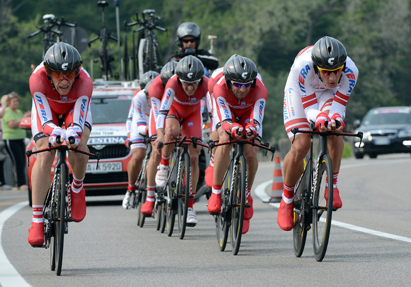 Team Katusha raced into a great 2nd-place, just five seconds off the winning time...