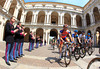 The stage begins through the ancient courtyard of the police academy in Modena...
