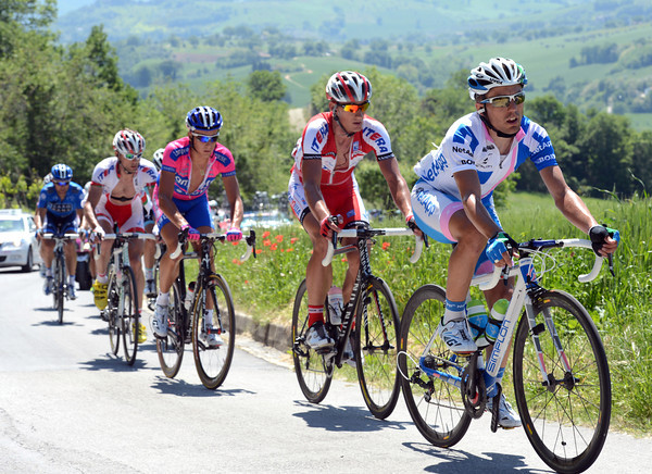 Cesare Benedetti leads the escape on to the highest climb about 115-kilometres in the stage...
