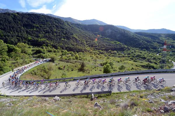The peloton is still fairly compact despite the climb towards the finish at Rocca di Cambio...
