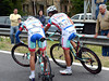 Roberto Ferrari has been removed from the sprint after getting a flat-tire with five-kilometres left...