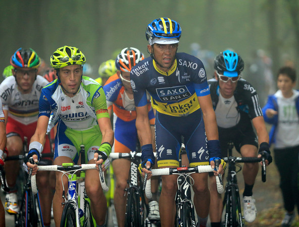 Alberto Contador has moved to the front as the steepest part of Sormano begins - he has Vincenzo Nibali right next to him...