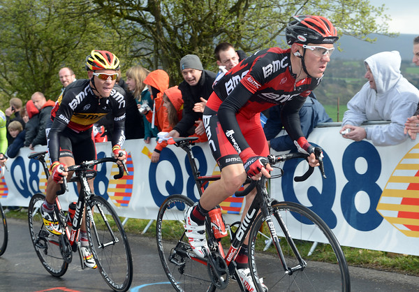 Tejay Van Garderen leads the chase for Philippe Gilbert, less than two-minutes down...
