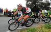Fabian Cancellara descends a bit later - at the head of the disintegrading peloton...