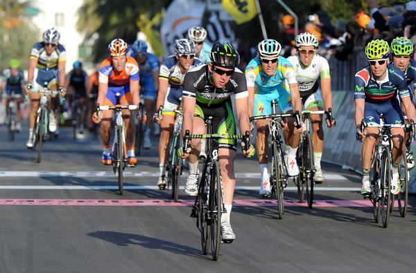 Matthew Goss crosses the line a few seconds later - twelve months after winning this race..!