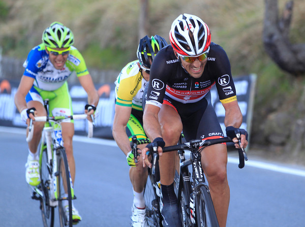 Fabian Cancellara has joined an escape by Nibali and Gerrans near the summit of the Poggio...
