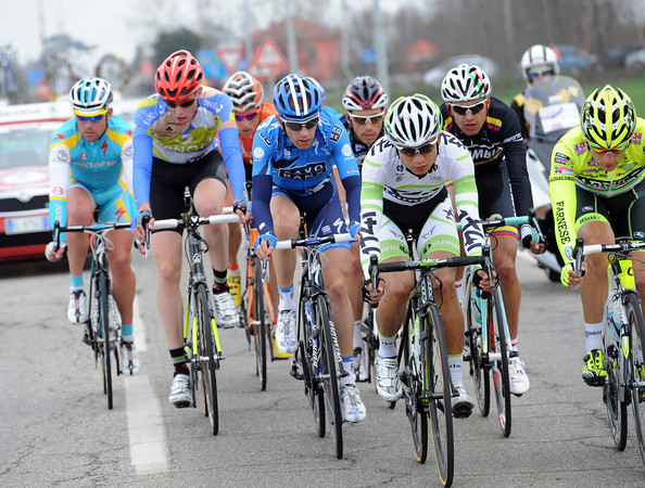 Nine men have got away right from the start - and there's a Chinese cyclist, Cheng Ji, leading the way..!